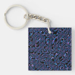Crazed Abstract in Blue, Black, and Purple Acrylic Keychain