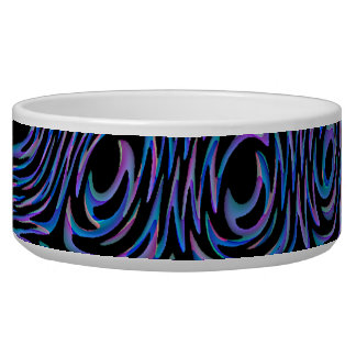 Crazed Abstract in Blue, Black, and Purple Pet Food Bowls