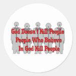 Crazies religioso etiquetas redondas