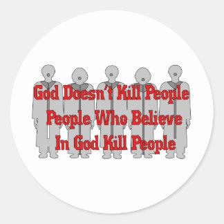 Crazies religioso pegatina redonda