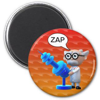 Crazy 3d Mad Scientist Raygun Deathray Fridge Magnet