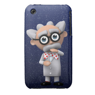 Crazy 3d Mad Scientist Thinking (editable) iPhone 3 Case-Mate Case
