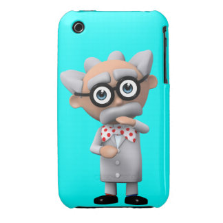 Crazy 3d Mad Scientist Thinking (editable) iPhone 3 Cover