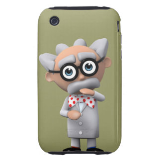 Crazy 3d Mad Scientist Thinking (editable) Tough iPhone 3 Case