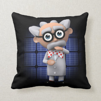 Crazy 3d Mad Scientist Thinking Throw Pillow