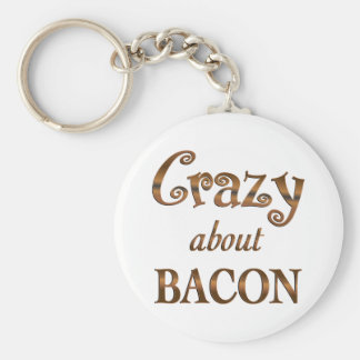 Crazy About Bacon Basic Round Button Keychain