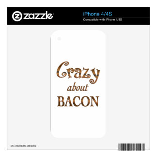 Crazy About Bacon Decals For iPhone 4