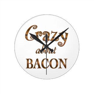 Crazy About Bacon Round Wallclocks