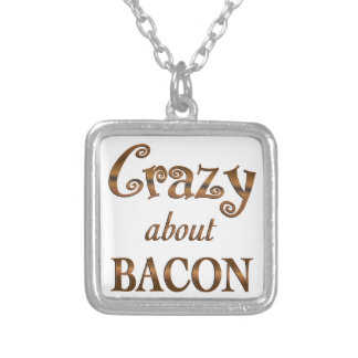 Crazy About Bacon Square Pendant Necklace