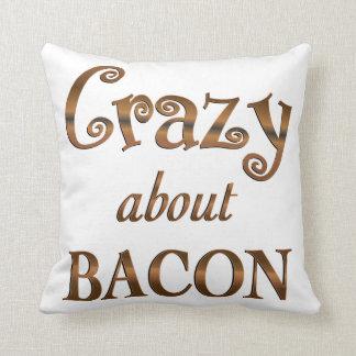 Crazy About Bacon Throw Pillow
