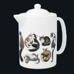 "Crazy About Cats Teapot<br><div class=""desc"">Original fine art design of a variety of cats from Himalayan and Siamese to shorthairs, tabbies and more by artist Carolyn McFann of Two Purring Cats Studio printed on a quality teapot for cat lovers. See a few of our products below (click to go to that product) and visit our...</div>"