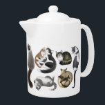 """Crazy About Cats Teapot<br><div class=""""desc"""">Original fine art design of a variety of cats from Himalayan and Siamese to shorthairs, tabbies and more by artist Carolyn McFann of Two Purring Cats Studio printed on a quality teapot for cat lovers. See a few of our products below (click to go to that product) and visit our...</div>"""
