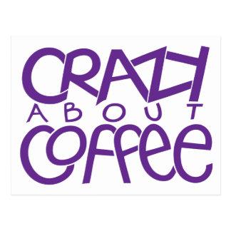 Crazy about Coffee purple Postcard
