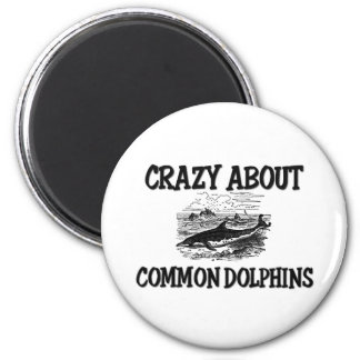 Crazy About Common Dolphins 2 Inch Round Magnet