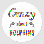 Crazy About Dolphins Round Stickers