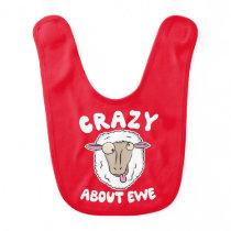 Crazy About Ewe - Funny Sheep Lamb T-Shirt Baby Bib