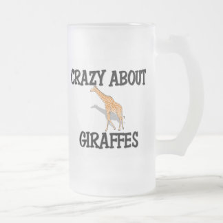 Crazy About Giraffes Frosted Glass Beer Mug