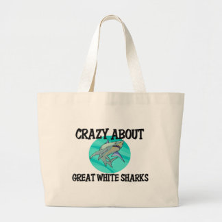 Crazy About Great White Sharks Tote Bags