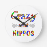 Crazy About Hippos Wall Clock