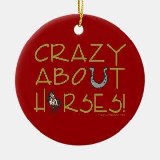 Crazy About Horses Ceramic Ornament