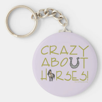 Crazy About Horses Basic Round Button Keychain