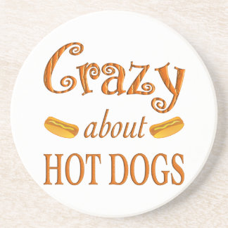 Crazy About Hot Dogs Beverage Coasters