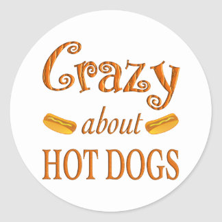 Crazy About Hot Dogs Classic Round Sticker