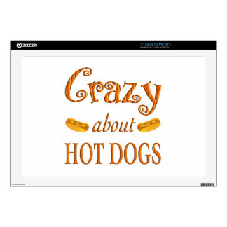 """Crazy About Hot Dogs Decals For 17"""" Laptops"""