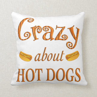 Crazy About Hot Dogs Throw Pillow