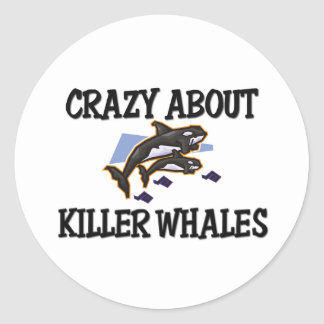 Crazy About Killer Whales Classic Round Sticker
