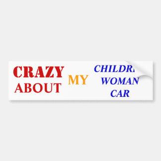 crazy about my children-woman-car bumper sticker