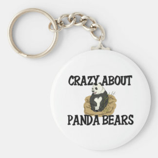 Crazy About Panda Bears Basic Round Button Keychain