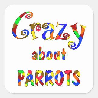 Crazy About Parrots Square Sticker