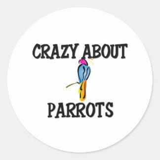 Crazy About Parrots Classic Round Sticker