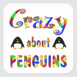 Crazy About Penguins Square Stickers