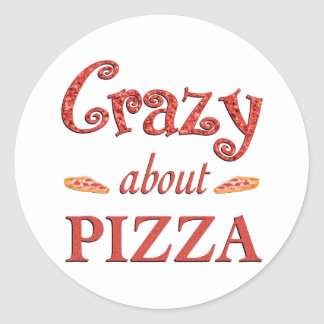 Crazy About Pizza Round Stickers