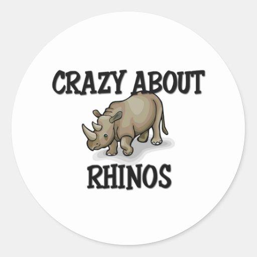 Crazy About Rhinos Round Stickers