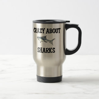 Crazy About Sharks 15 Oz Stainless Steel Travel Mug
