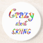 Crazy About Skiing Beverage Coaster