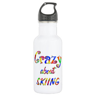 Crazy About Skiing Stainless Steel Water Bottle