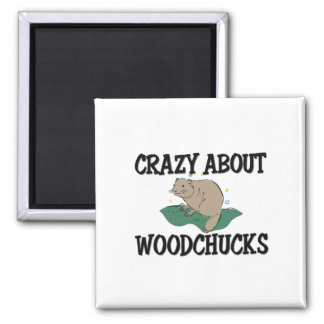 Crazy About Woodchucks 2 Inch Square Magnet