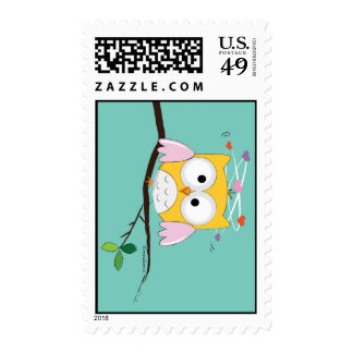 Crazy About You Owl with Hearts Stamp