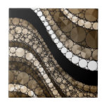 Crazy Abstract Bling Brown and Cream Ceramic Tile