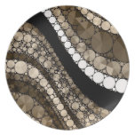 Crazy Abstract Bling Brown and Cream Plates