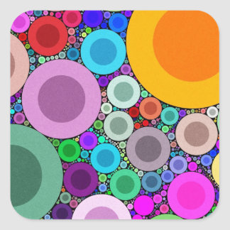 Crazy Abstract Circle Pattern Square Stickers