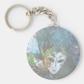 Crazy Abstract Face Of Festival Celebrations Mask Basic Round Button Keychain