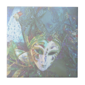 Crazy Abstract Face Of Festival Celebrations Mask Ceramic Tile