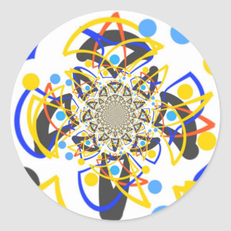 Crazy abstracy design classic round sticker