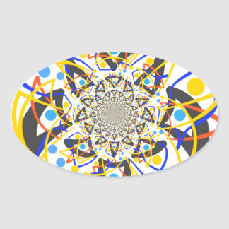Crazy abstracy design oval sticker