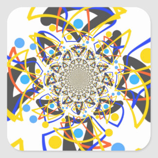 Crazy abstracy design square sticker